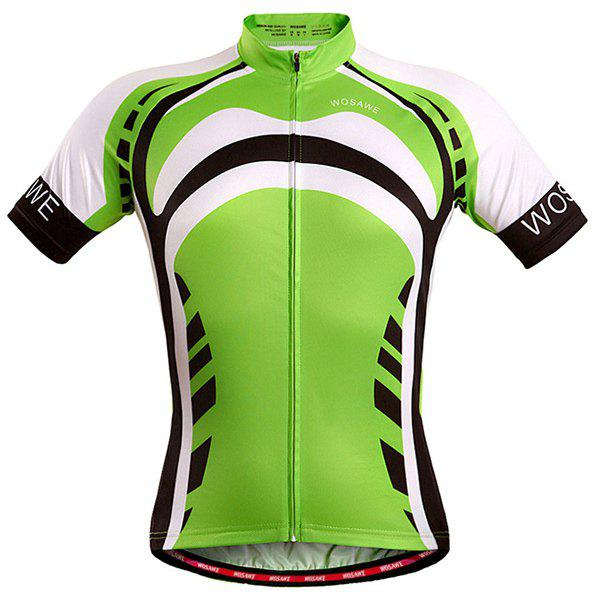 High Quality Full Zipper Summer Cycling Short Sleeve Jersey For Men - GREEN S