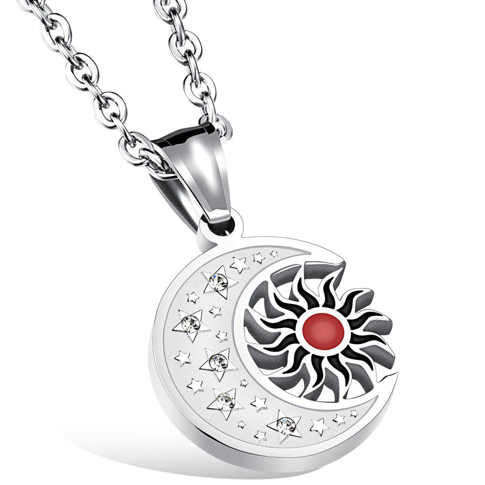 Graceful Rhinestone Star Moon Sun Necklace For Women - SILVER