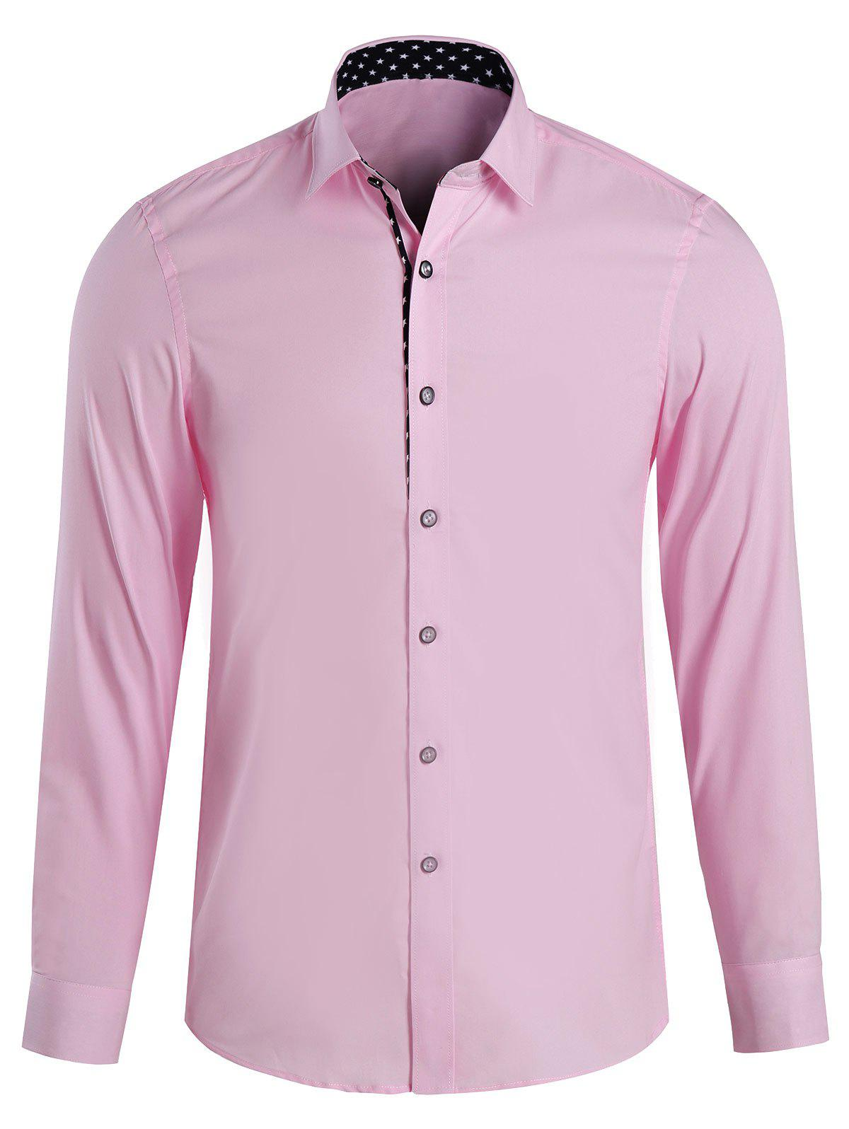 Men's Casual Printed Turn Down Collar Shirts - PINK 4XL