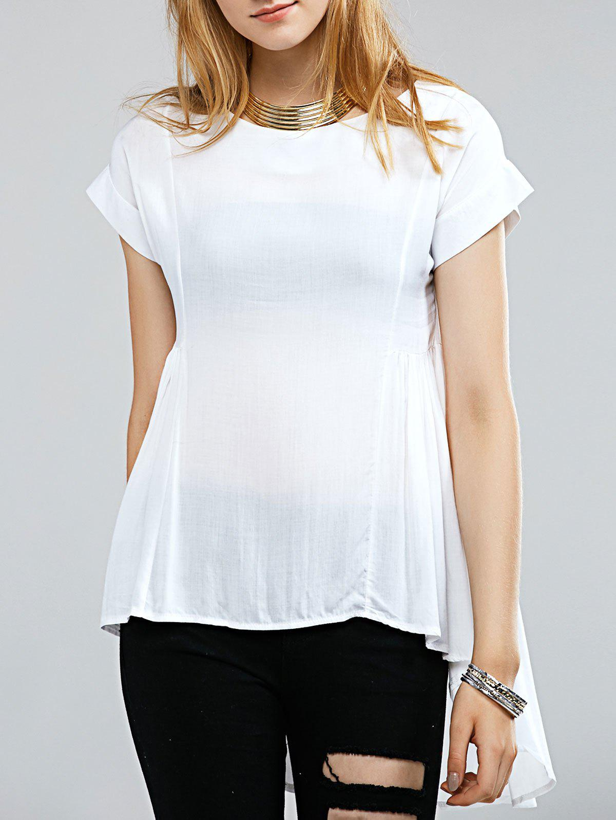 Refreshing See-Through Irregular Blouse For Women - WHITE M
