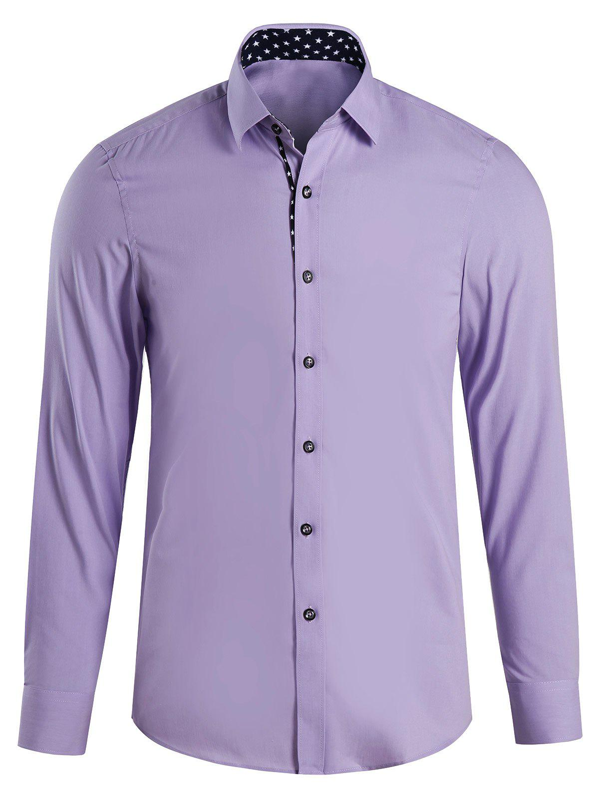 Men's Casual Printed Turn Down Collar Shirts - PURPLE 4XL