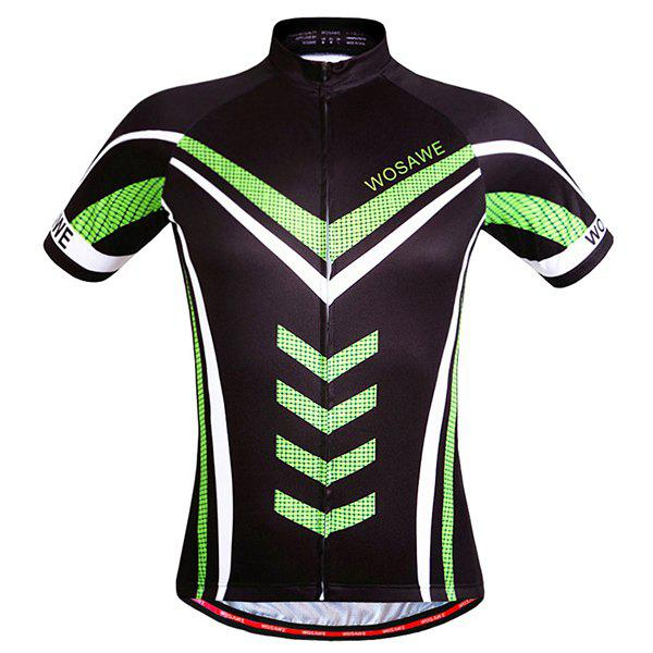 Stylish Geometric Pattern Full Zipper Short Sleeve Summer Cycling Jersey For Men 6pcs full set 2017 pro team sky color cycling jersey short sleeve summer bike clothing mtb ropa ciclismo bicycle maillot 3d pad