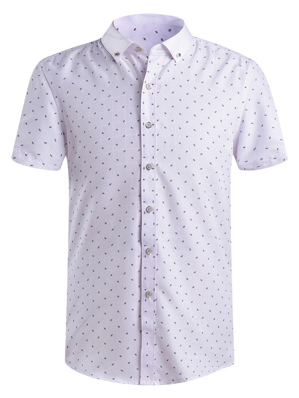 Men's Fashion Printing Button-Down Shirts - WHITE 4XL