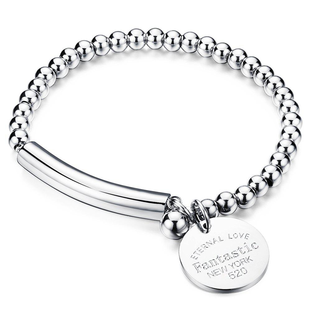 Alloy Engraved Love Bracelet - SILVER
