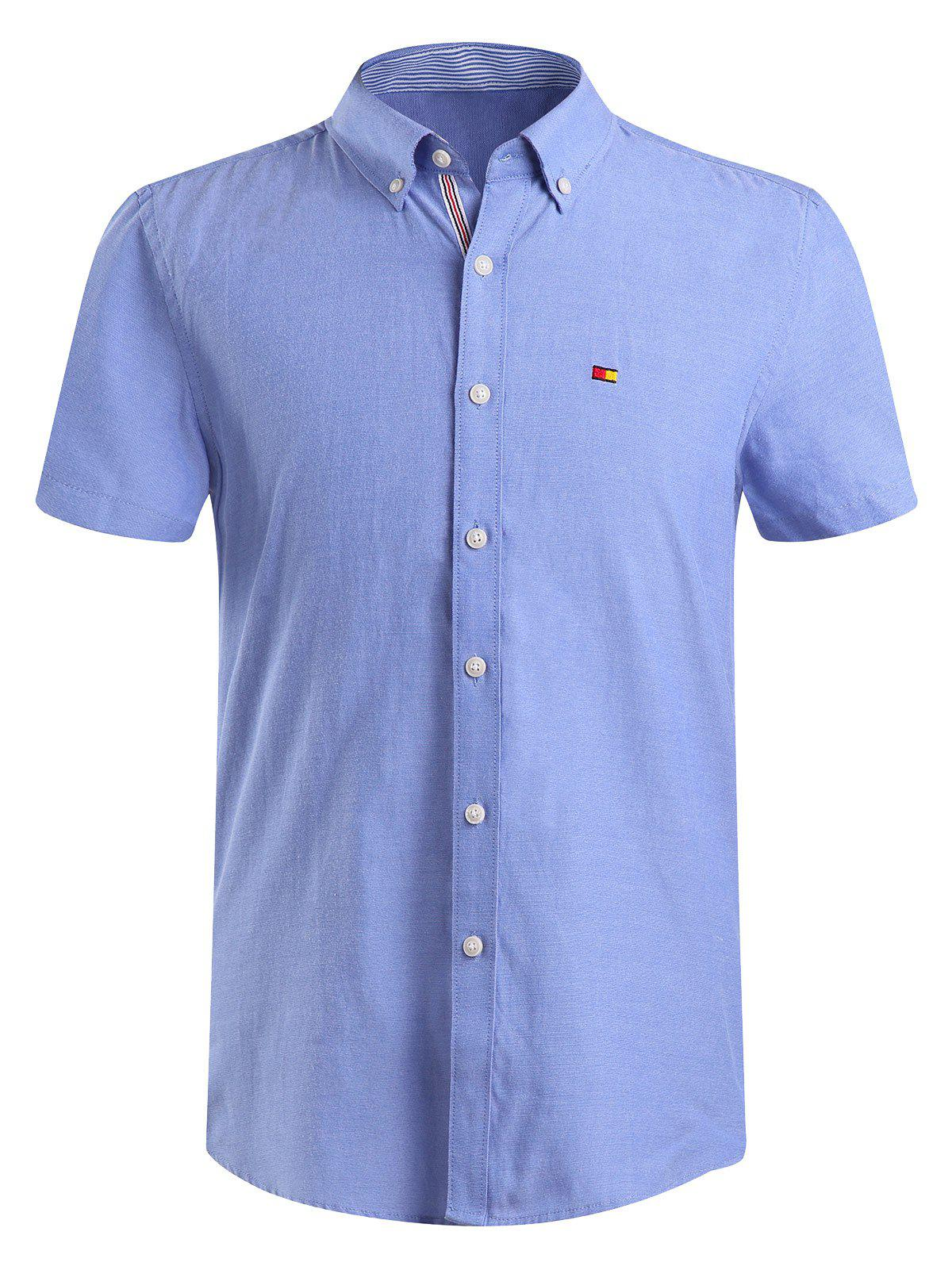 Men 39 s fashion solid color button down shirt blue xl in for Solid color button up shirts
