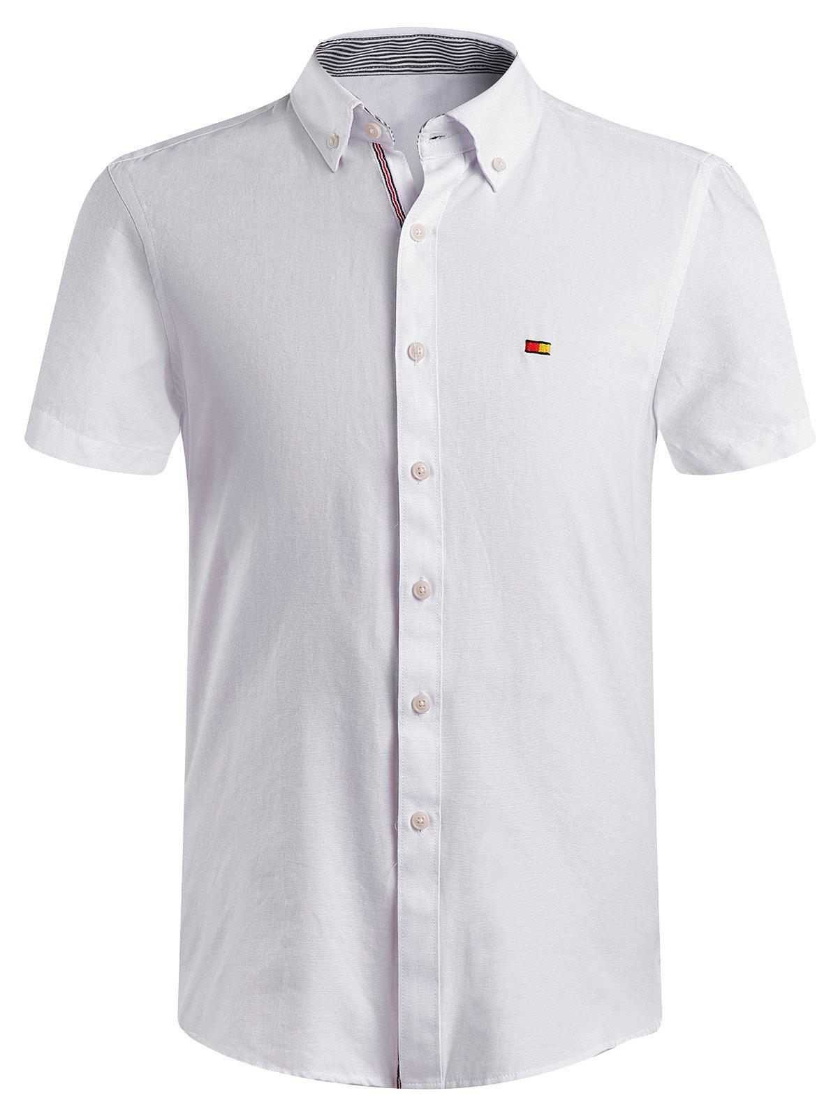 Men's Fashion Solid Color Button-Down Shirt - WHITE 4XL