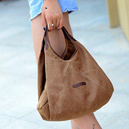 Concise Canvas and Zip Design Women's Tote Bag - BROWN