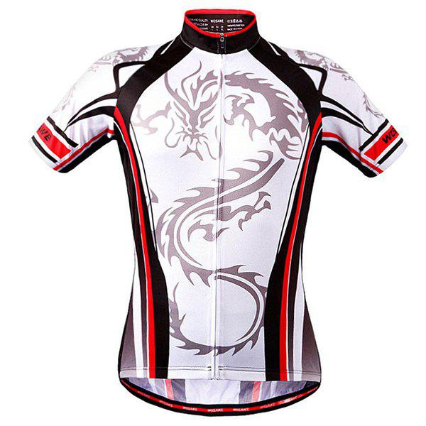 High Quality Dragon Totem Design Full Zipper Short Sleeve Summer Cycling Jersey For Men - WHITE 2XL