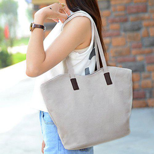 Comfortable Solid Color and Zip Design Women's Tote Bag - OFF WHITE