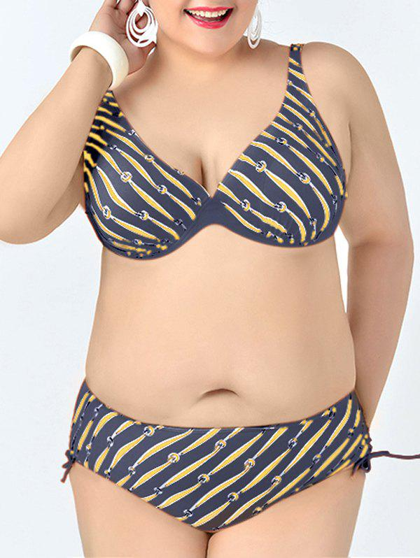 Plus Size Print V-Neck Bikini Set For Women - PURPLISH BLUE XL