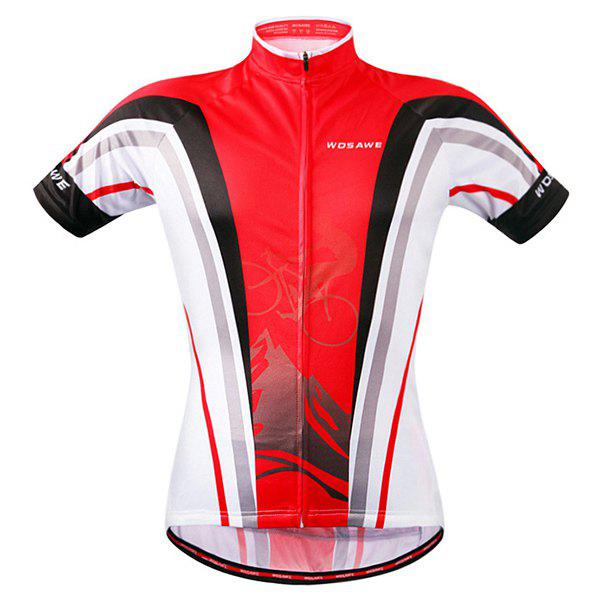 Stylish Bicycle Design Full Zipper Short Sleeve Summer Cycling Jersey For Men - RED M