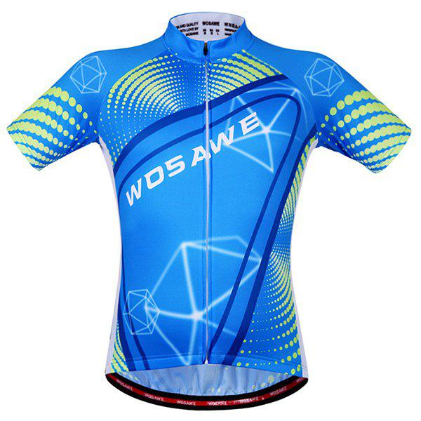 Fashionable 3D Geometry Pattern Short Sleeve Summer Cycling Jersey For Men - BLUE M