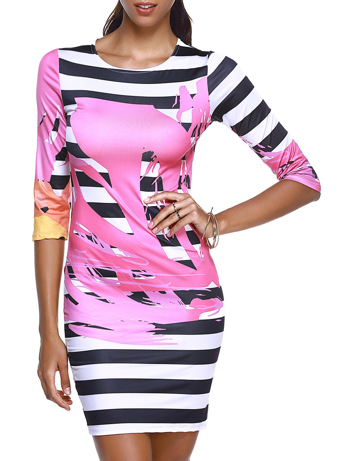 Round Collar Print Striped Chic Women's Bodycon Dress - WATER RED S