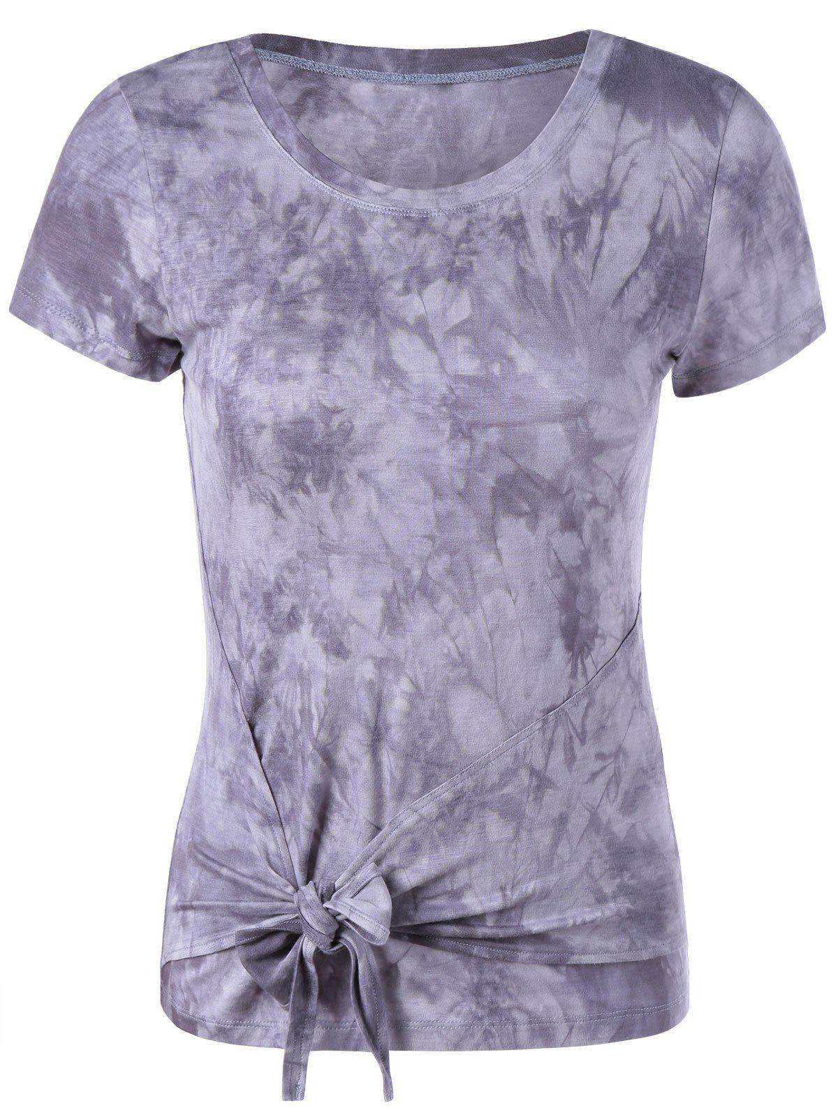 Fashionable Women's Round Collar Short Sleeve T-Shirt - GREY/WHITE L