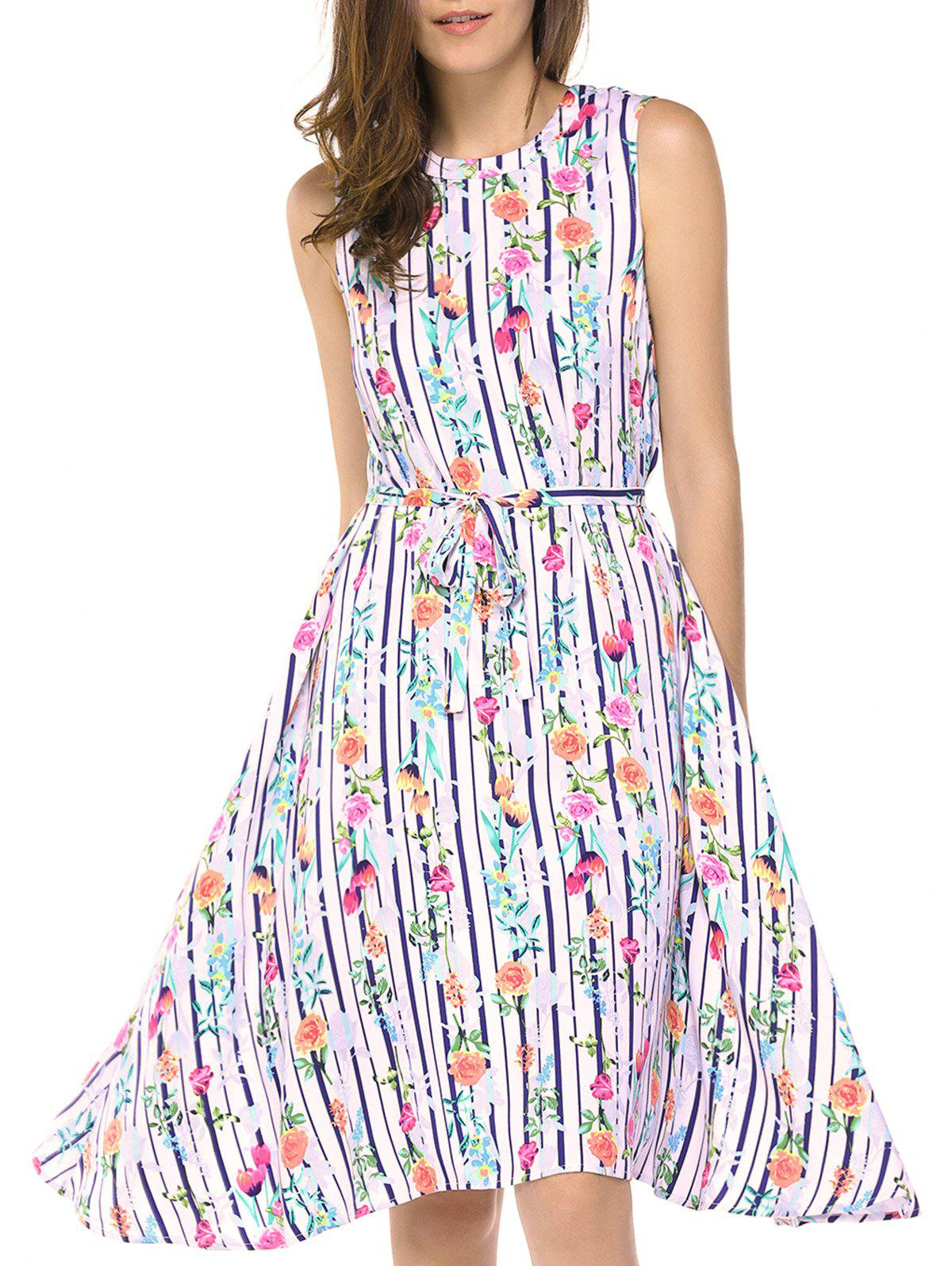 Fashionable Women's Round Neck Sleeveless Flowers Print Dresses - STRIPE L