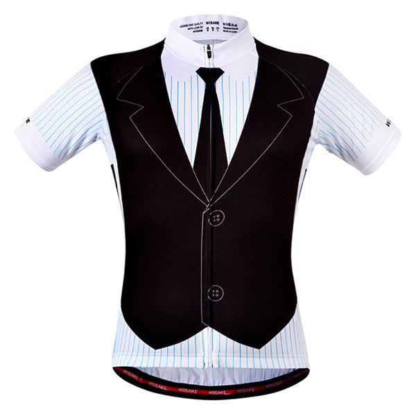 Fashionable False Waistcoat Design Men's Short Sleeve Summer Cycling Jersey - COLORMIX L