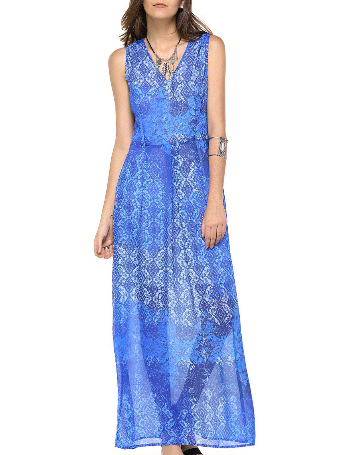 Fashionable Women's V-neck Sleeveless Print Maxi Dress - BLUISH VIOLET L