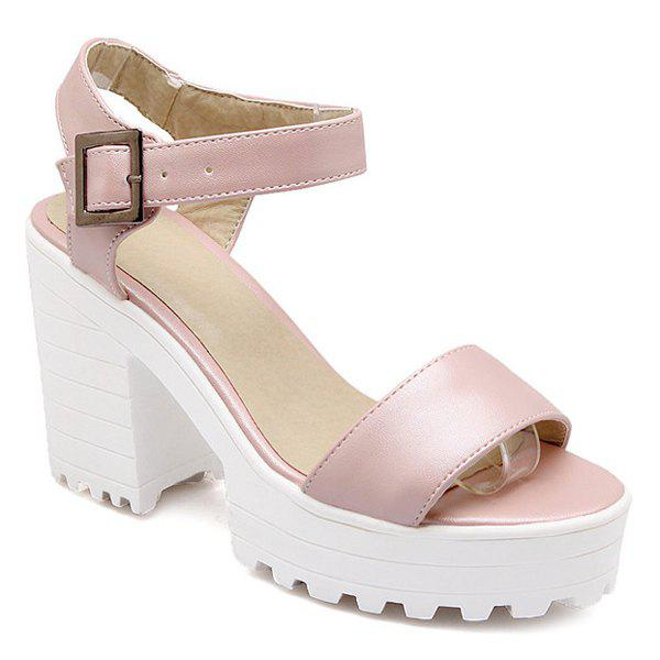Stylish Platform and PU Leather Design Women's Sandals - PINK 39