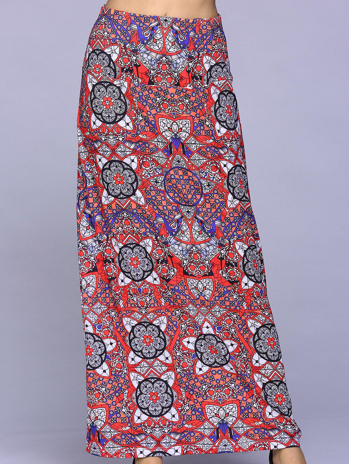 Leisure Women's Straight Geometric Printing Long Skirt - COLORFUL GEOMETRIC L