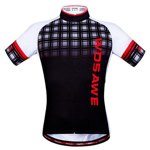 High Quality Plaid Pattern Men's Short Sleeve Summer Cycling Jersey - COLORMIX 2XL