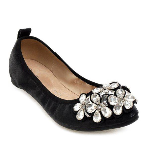 Leisure PU Leather and Rhinestones Design Women's Flat Shoes - BLACK 38