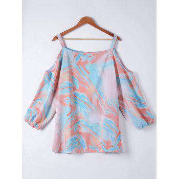 Plus Size Cold Shoulder Printing Shirt