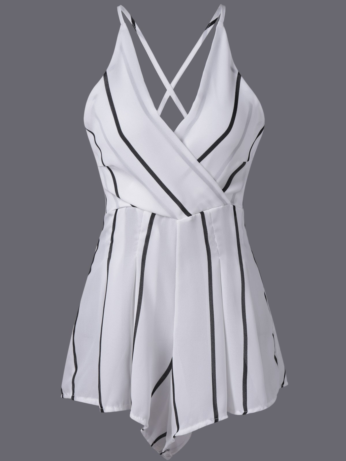 Stylish Women's V-Neck Stripe Adjustable Strap Romper - WHITE ONE SIZE(FIT SIZE XS TO M)