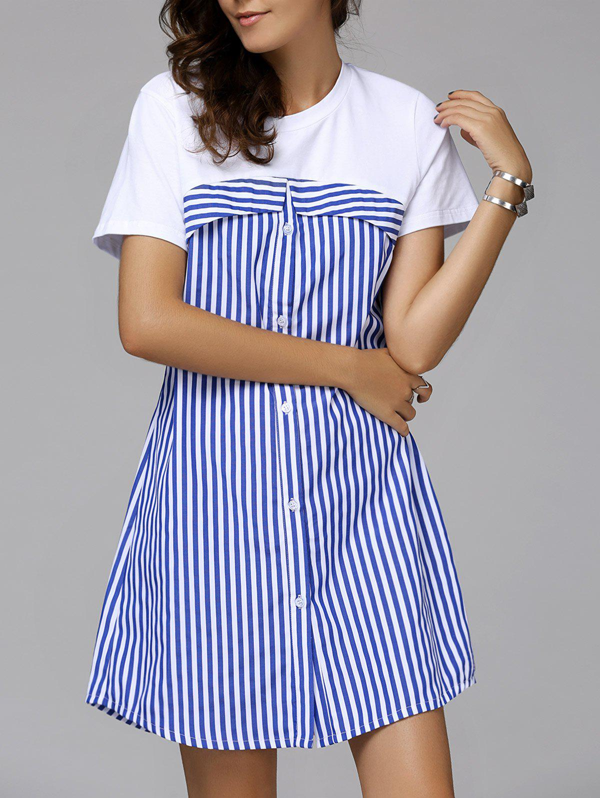 Cute Women's Round Collar Stripe Buttoned Short Sleeve Dress - STRIPE L