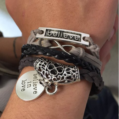 Chic Flower Pattern Weaved Layered Letter Openwork Friendship Bracelet For Women - COLORMIX