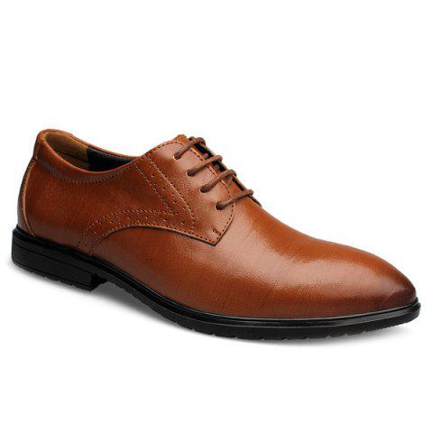 Fashionable Pointed Toe and Tie Up Design Men's Formal Shoes - BROWN 43