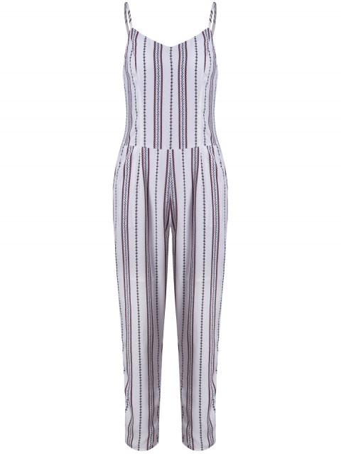 Chic Striped Sleeveless Jumpsuit For Women - WHITE S