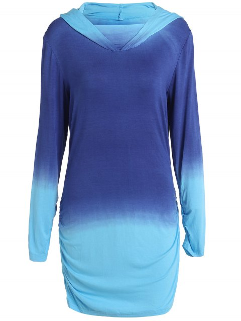 Charming Hooded Ombre Color Long Sleeve Hoodie For Women - BLUE M