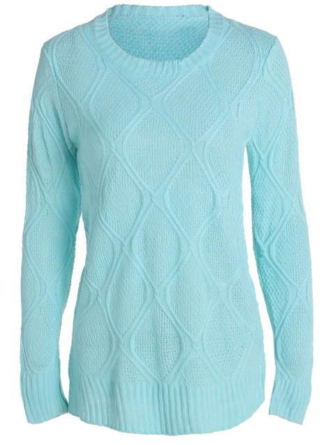 Simple Long Sleeve Round Collar Pure Color Women's Sweater - BLUE M