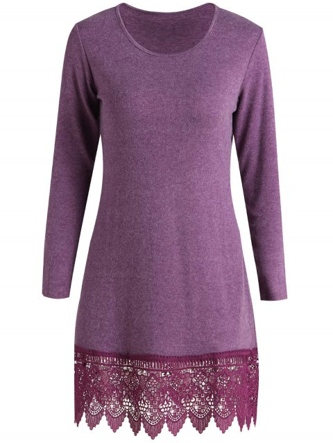 Stylish Scoop Neck Long Sleeve Laciness Solid Color Women's Dress - PURPLISH RED XL