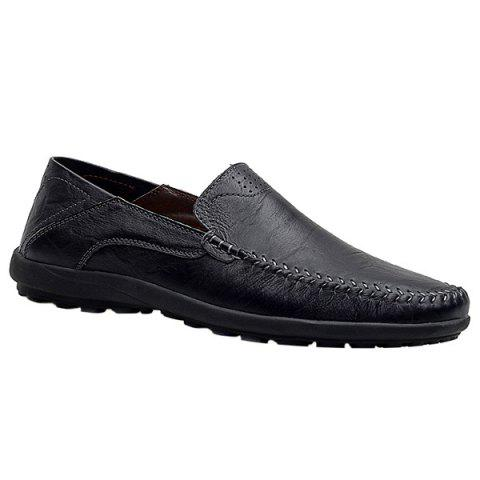 Stylish Stitching and Solid Color Design Men's Casual Shoes - BLACK 43