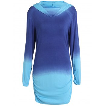 Charming Hooded Ombre Color Long Sleeve Hoodie For Women