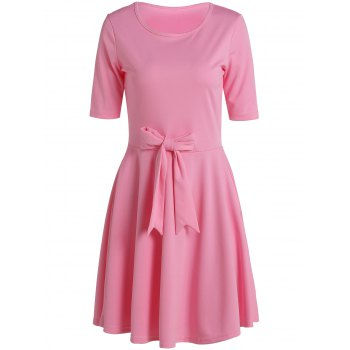 Chic 1/2 Sleeve Round Neck Solid Color Bowknot Embellished Women's Dress