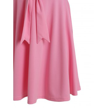 Chic 1/2 Sleeve Round Neck Solid Color Bowknot Embellished Women's Dress - PINK PINK