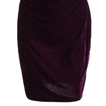 Fashion Sleeveless Stand-Up Neck Pure Color Women's Club Dress - PURPLE M