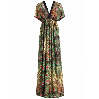 Bohemian Style Peacock Print V-Neck Short Sleeve Dress For Women