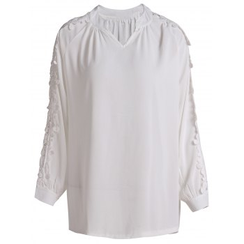 Refreshing White V-Neck Hollow Long Sleeve Blouse For Women - WHITE XL