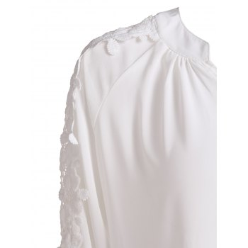 Refreshing White V-Neck Hollow Long Sleeve Blouse For Women - XL XL