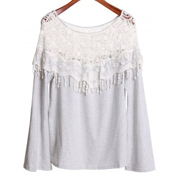Sexy Off-The-Shoulder Long Sleeve Lace Spliced Hollow Out Women's T-Shirt