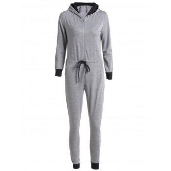 Casual Self-Tie Hooded Long Sleeve Jumpsuit For Women