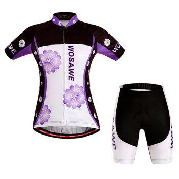 Fashionable Violet Pattern Women's Short Sleeve Jersey + Shorts Outdoor Cycling Suits