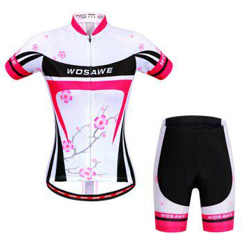 Chic Quality Plum Blossom Pattern Short Sleeve Jersey + Shorts Outdoor Cycling Suits For Women - COLORMIX M