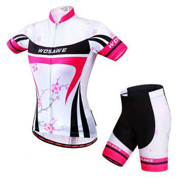 Chic Quality Plum Blossom Pattern Short Sleeve Jersey + Shorts Outdoor Cycling Suits For Women - M M