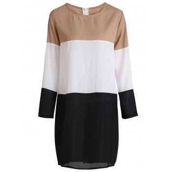 Fashionable Women's Jewel Neck Long Sleeves Shift Dress