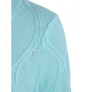 Simple Long Sleeve Round Collar Pure Color Women's Sweater - BLUE S