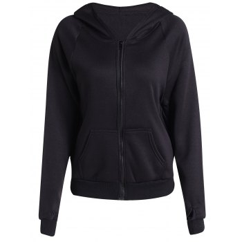 Chic Long Batwing Sleeve Hooded Pure Color Women's Jacket - BLACK S
